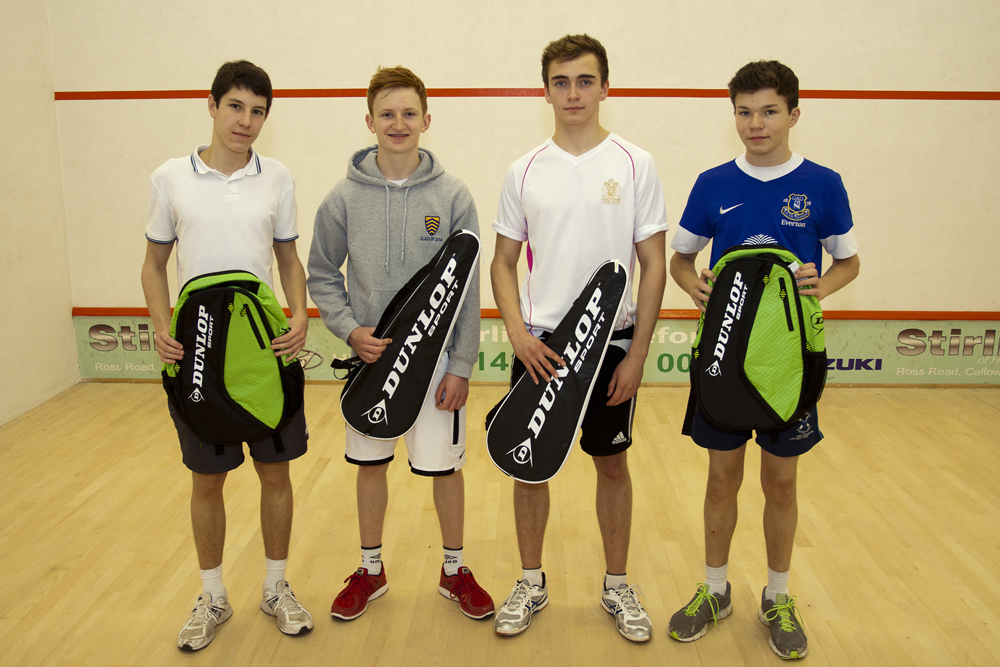 Under 17 finalists, with prizes donated by Dunlop