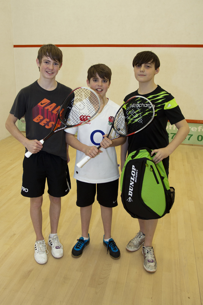 Under 15 finalists, with prizes donated by Dunlop